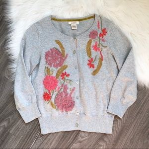 Sundance Gray Embroidered Floral Cardigan